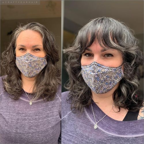 Middle Length Wavy Gray Hair with a Trendy Fringe
