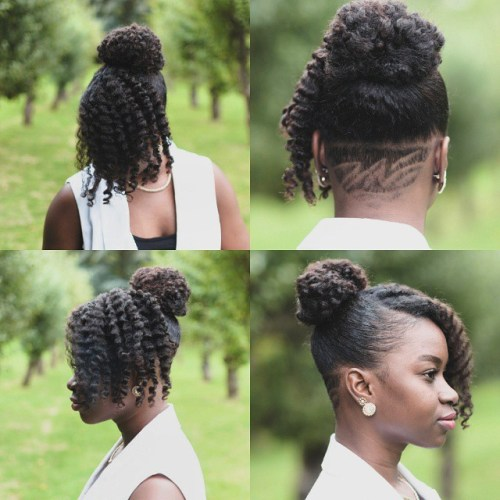 45 easy and showy protective hairstyles for natural hair natural updo with nape undercut pmusecretfo Image collections