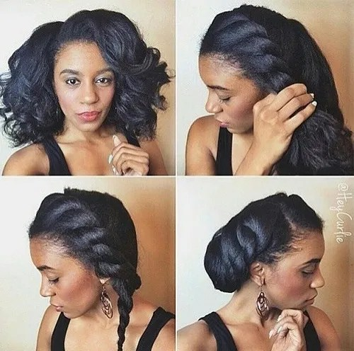 side twist updo for natural hair