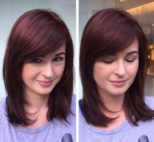 40 universal medium length haircuts with bangs medium layered burgundy hairstyle urmus Gallery
