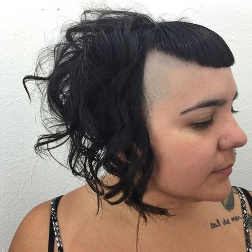 funky medium hairstyle with temple undershaves