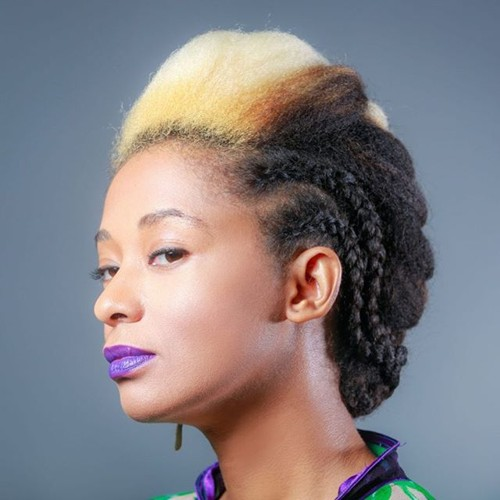 two-tone natural hair updo with side twists
