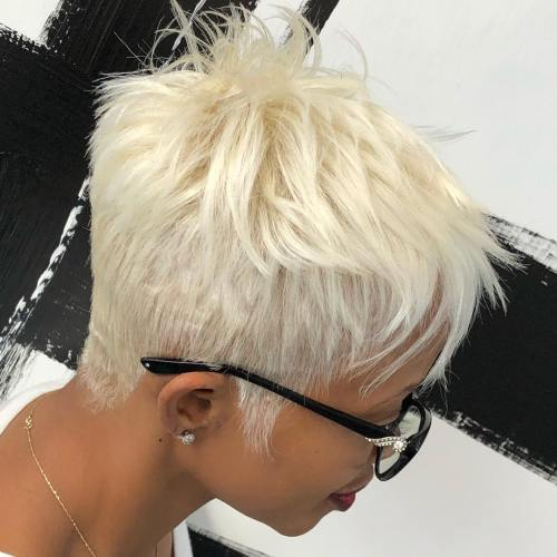 African American White Blonde Pixie