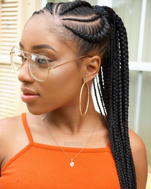 70 best black braided hairstyles that turn heads in 2017 cornrows with a ponytail urmus Images