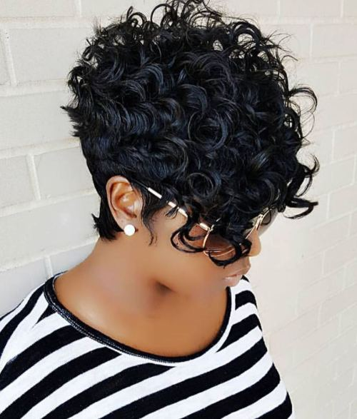 African American Curly Pixie