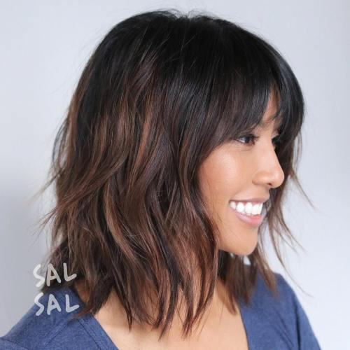 50 best variations of a medium shag haircut for your distinctive style shaggy brunette bob with highlights urmus Images
