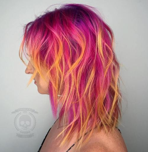 Pink Shag With Orange Highlights