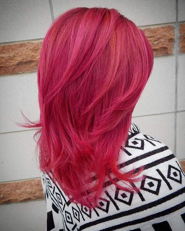 Bright Pink Layered Hairstyle