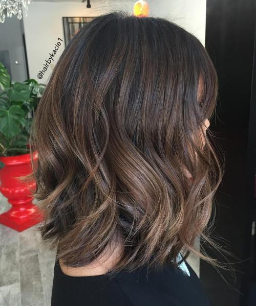 Brunette Wavy Lob For Thick Hair