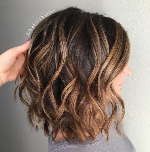 Wavy Chocolate Bob With Caramel Highlights