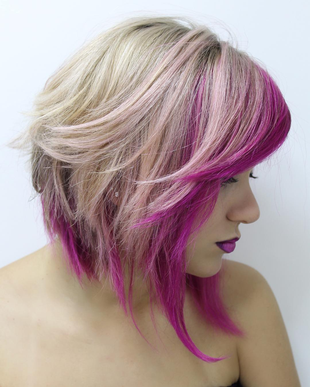 Bob Hairstyles 2018 Blonde Angled Lob With Pink Highlights Haircut