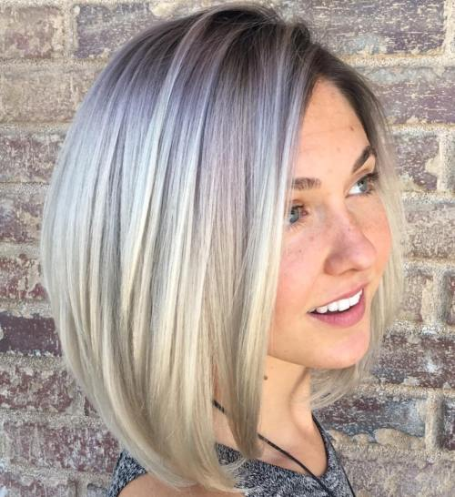 Side-Parted Ash Blonde Bob