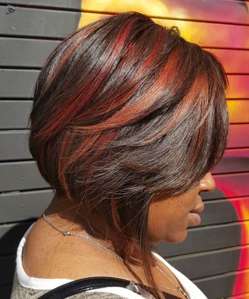 Two Tone Red Balayage For Dark Hair