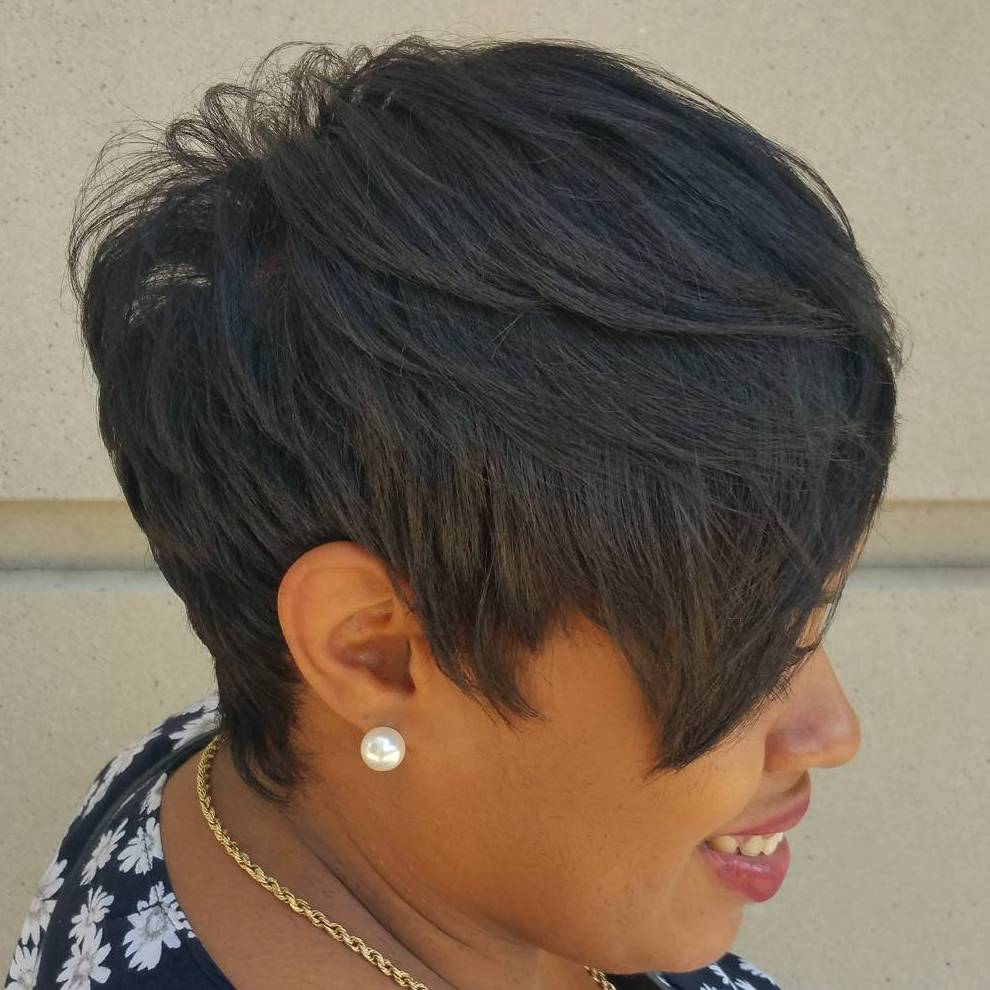 Black Pixie With Long Layered Bangs