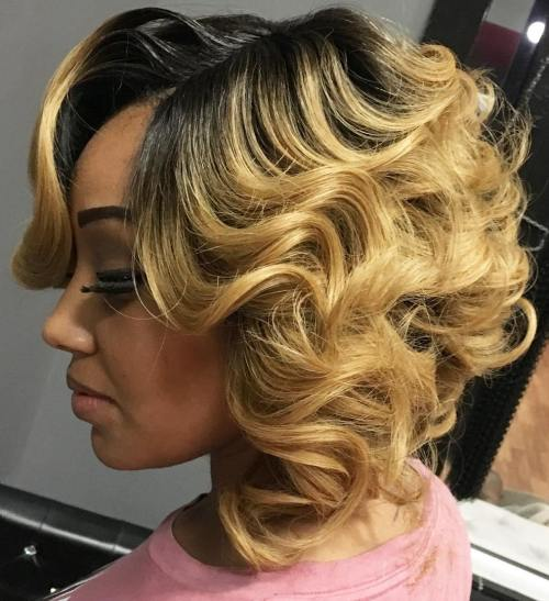 Blonde Curly Bob With Black Roots