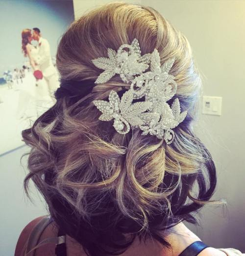 Half Up Curly Wedding Hairstyle