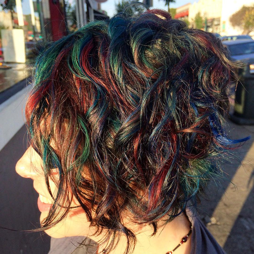 Short Rainbow Balayage For Brunettes