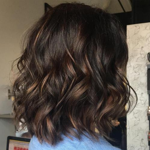 Wavy Sun-Kissed Brunette Lob