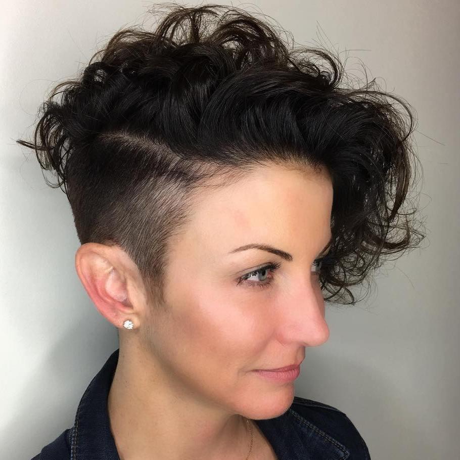 Short Asymmetrical Curly Undercut