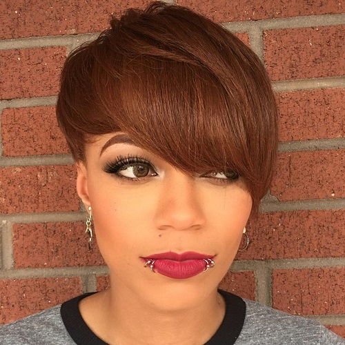 short brown hairstyle for black women