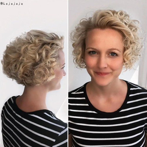 Short Curly Bob For Blondes