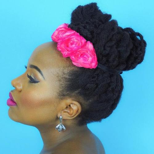 Twisted Natural Updo With Hair Flowers