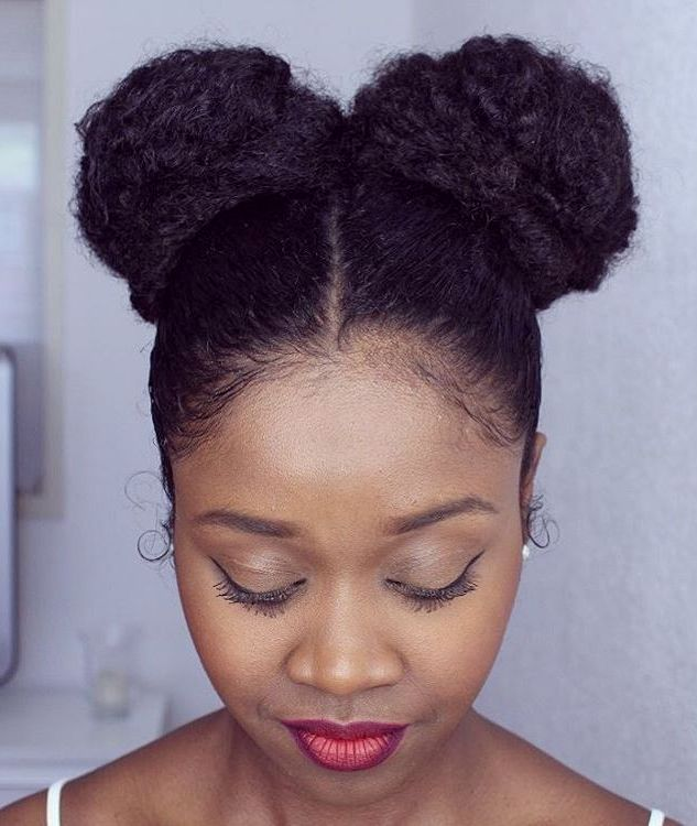 two buns updo for natural hair