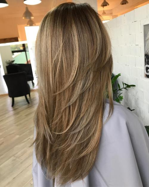 Long Haircut With V-Cut Layers