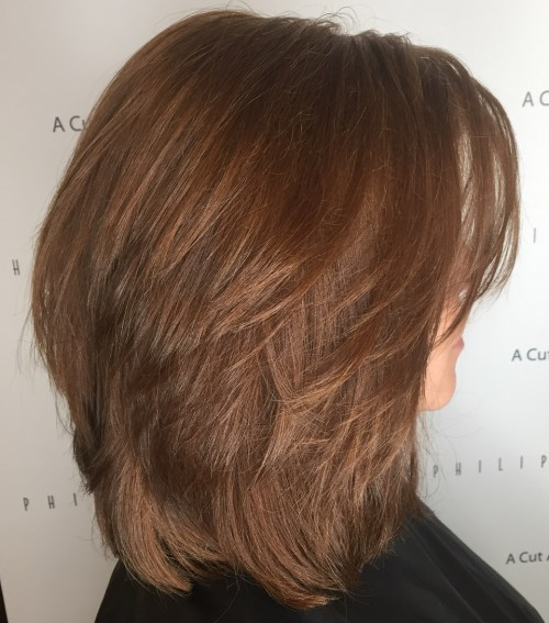 Shoulder Length Cinnamon Brown Layered Hair