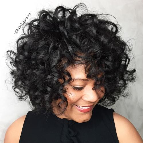 Voluminous Naturally Curly Bob Hairstyle