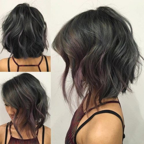 80 sensational medium length haircuts for thick hair in 2017 choppy wavy angled bob urmus Choice Image
