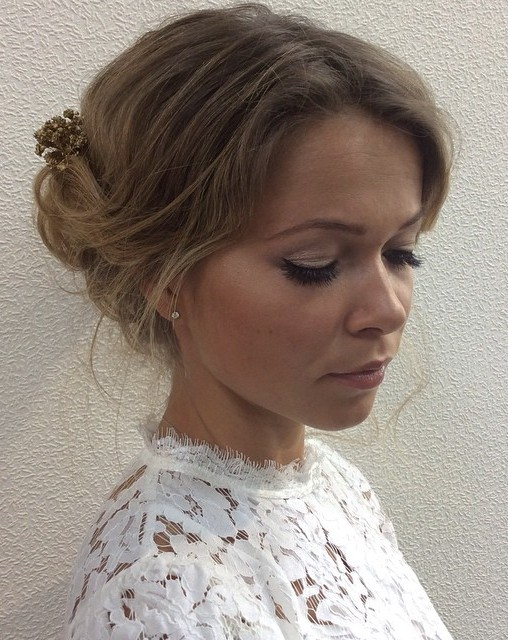 Simple Bridal Updo For Thin Hair