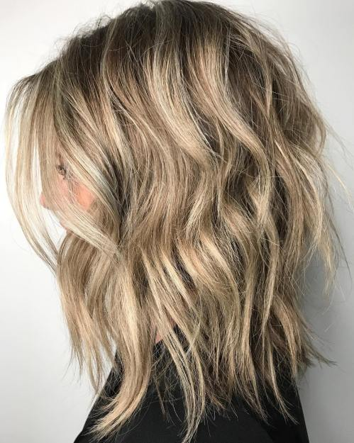 Uneven Shaggy Bronde Long Bob