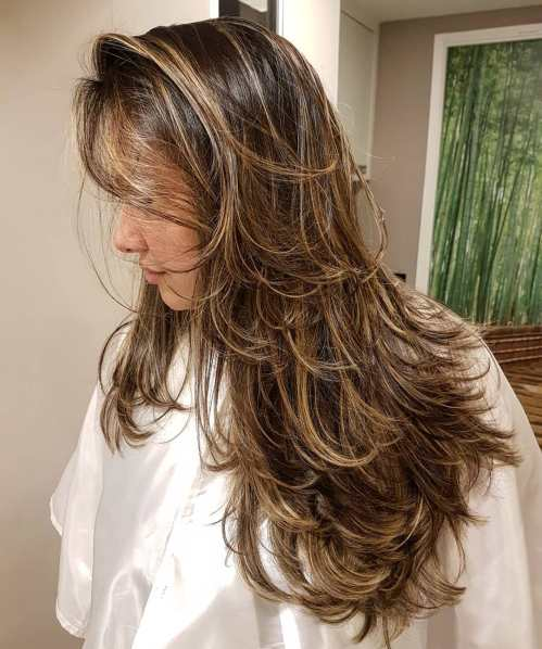 Messy Long Layered Haircut With Highlights