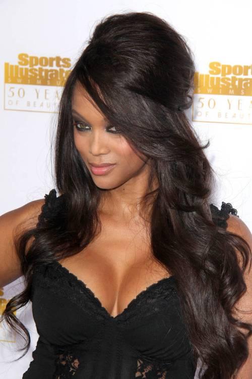 Tyra Banks long black hairstyle