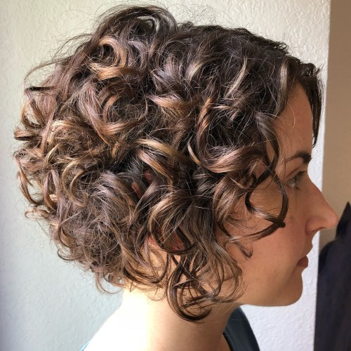Short Curly Caramel Brown Bob