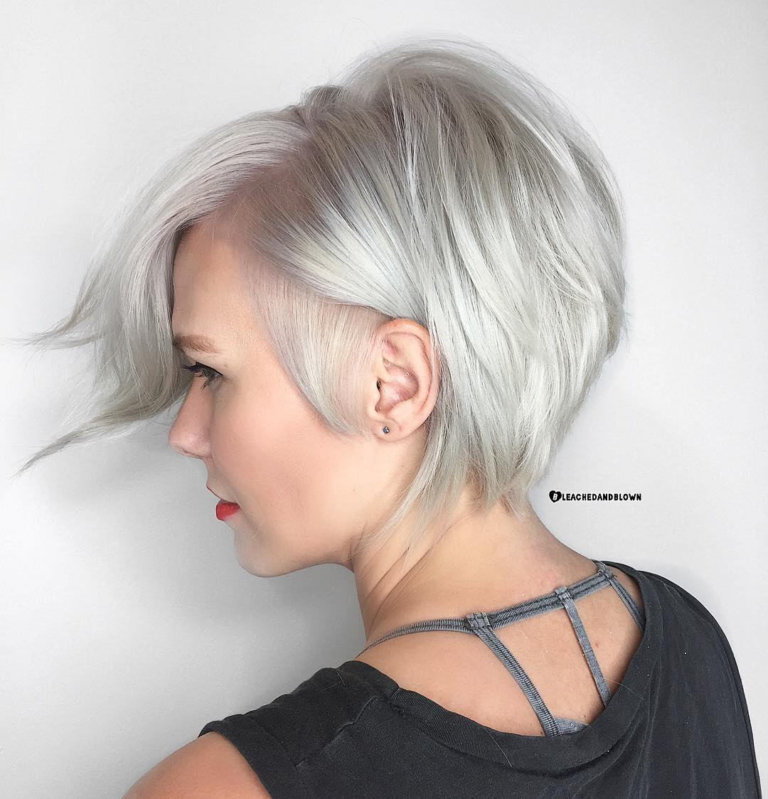 Short Silver Bob For Fine Hair