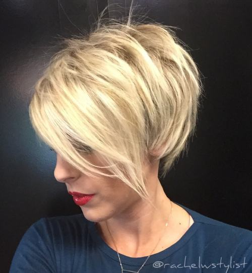Choppy Blonde Pixie With Long Bangs