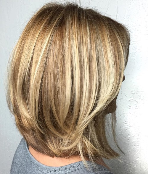 Honey Blonde Layered Bob For Thick Hair
