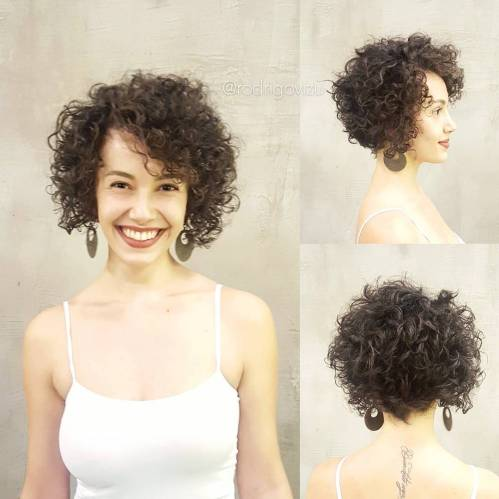 Short Curly Bob Hairstyle For A Long Face