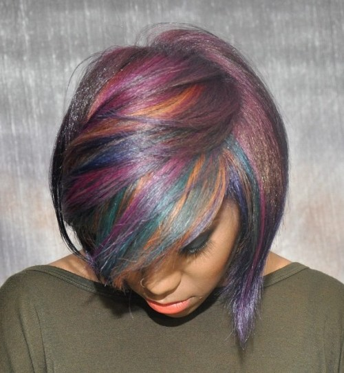 Black Bob With Multi-Colored Highlights