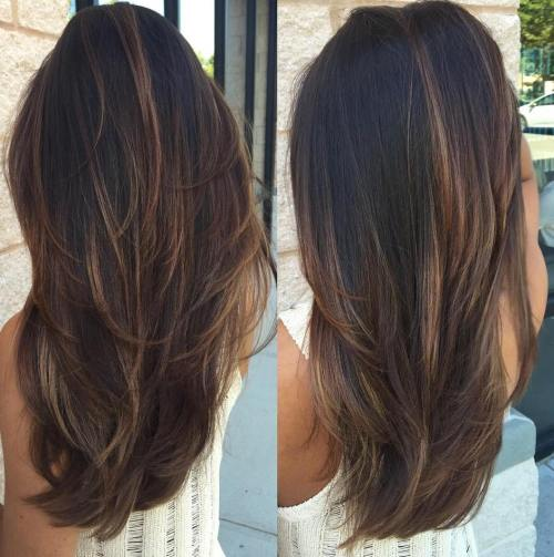 Black Hair With Chocolate Balayage