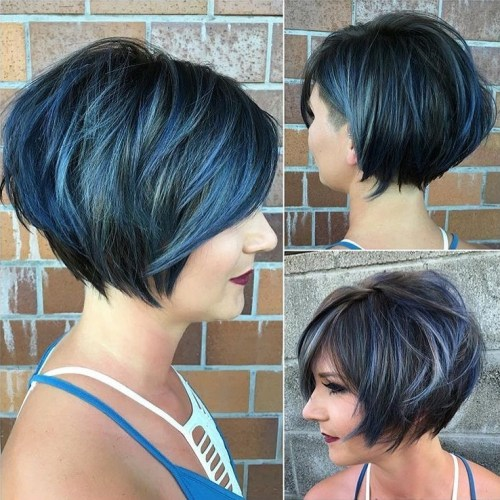 Choppy Black Bob With Highlights