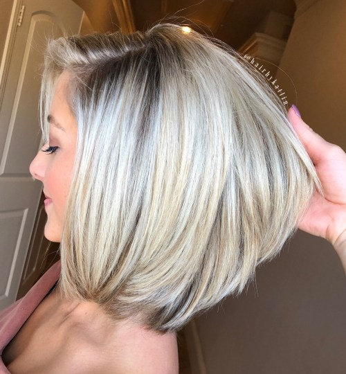 White Blonde Bob For Thick Hair