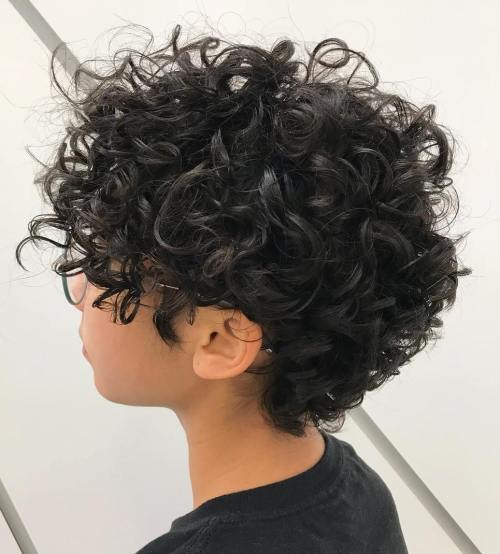 Curly Black Pixie