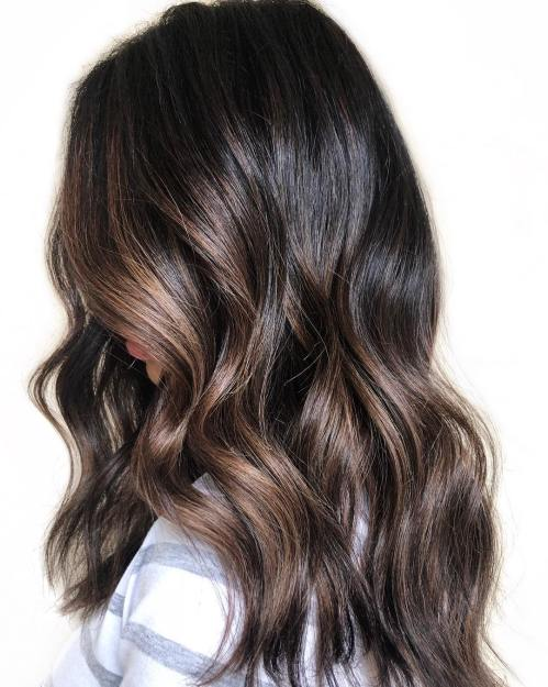 Long Dark Hair With Balayage Highlights