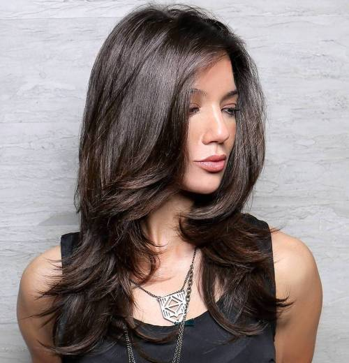haircuts for long thick hair with layers and side bangs 80 layered hairstyles and cuts for hair in 2016 4569 | 19 long layered haircut for thick hair