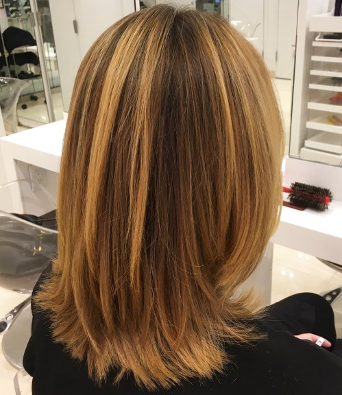 Medium Caramel Blonde Hairstyle