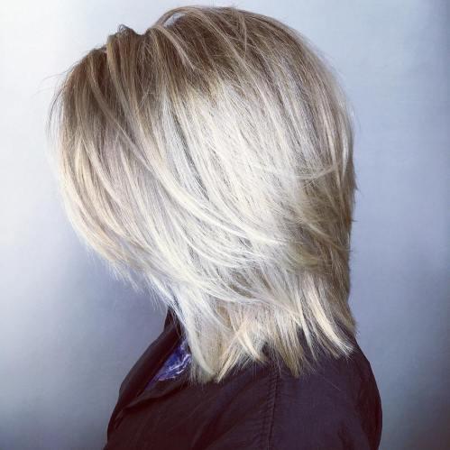 Straight Ash Blonde Layered Cut With White Balayage