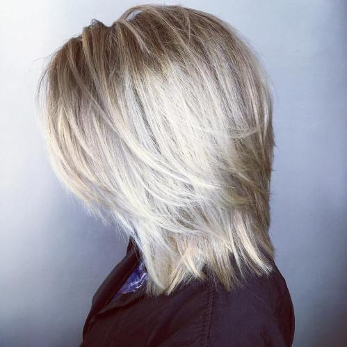 Straight Ash Blonde Layered Cut With White Balayage
